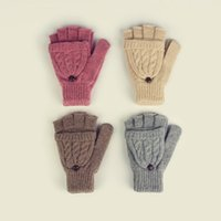 Wholesale Wholesale Half Glove Warmers - 2017 Woolen Women Clamshell Gloves Double Twist Cover With Warm Gloves Half Fingers Fashion Cover Mittens