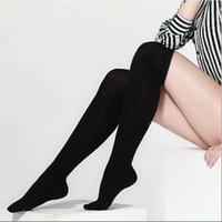 Wholesale Warm Thigh High Stockings - Wholesale-1 Pair Women Girl Autumn Thigh Knee High Stockings Black Long Cotton Stocking Leg Warmer LT9