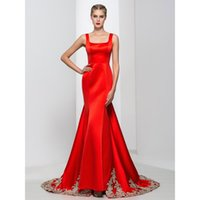 Wholesale Detachable Red - Elegant Red Evening Dresses Mermaid Square Collar Off The Shoulder Embroidery Criss-Cross Straps Detachable Real Pictures Long Prom Dress