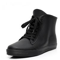 Wholesale Good Quality Rain Boots - Wholesale- Hot Sale Black Men Fashion Rubber Ankle Rain Boots Short Flat Heels Waterproof Rainboots Lace-Up Water Shoes Good Quality #TS135