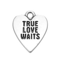 New Arrival Handmade Fashion Antique Silver Plated Letter True Love Waits Heart Charms Jewelry