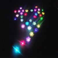 ingrosso luce di loto di seta-Fiore di seta di seta artificiale del diametro di 20 cm con le luci cambiate variopinte della candela che desiderano le lanterne di galleggiamento dell'acqua della lampada per la decorazione del partito