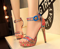 Wholesale National Adhesives - New Fashion Summer High Heels Sandal Europe Bohemian Beautiful National Retro Style Women Sandals Platform Buckle Heeled Pumps