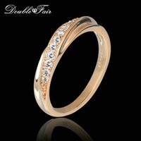 Wholesale Gemstone Rings 18k - Imitation Gemstone Finger Rings 18K Rose White Gold Plated Anti Allergy Jewelry for Fashion Brand Wedding Party Women Gift DFR314M
