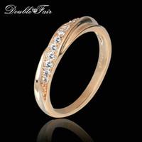 anillos de compromiso imitacion oro blanco al por mayor-Piedras preciosas de imitación anillos de dedo 18 K Rose / oro blanco plateado contra la alergia joyería para la marca de moda del banquete de boda regalo de las mujeres DFR314M