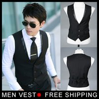 Wholesale Wholesale Men Suit Vest - Wholesale- Men's Suit Formal Vest Casual Vest Slim Fit Luxury business Dress Waistcoat Vest for men with 3 buttons M-XXXL Free shipping