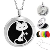 Wholesale Aromatherapy Cats - New Arrival! 30mm Silver Cat 316L Stainless Steel Aromatherapy Essential Oil Diffuser Pendant Necklace Hollow Perfume Locket with pads