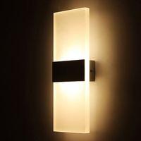 lámpara de pasillo al por mayor-Aplique Lámpara de pared Cuadrado 85-265v 12w Luz Led Foyer Pasillo Balcón Pasillo Lámpara de pared Blanco Blanco cálido Apliques de pared con cubierta de plata negra