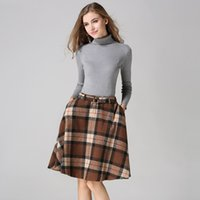 Wholesale Wool Skirts Vintage - 2017 Autumn Winter Runway Fashion Elegant High Waist Wool Skirt Casual Vintage Plaid Keep warm A-line Big Swing Skirts