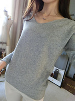 Wholesale women loose plus size cashmere - Women's Clothing Sweaters Warm Soft cashmere sweater fashion sexy v-neck loose wool sweater batwing sleeve plus size S-4XL pullover Fre