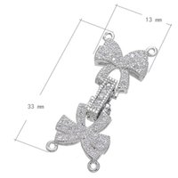 Wholesale Jewelry Butterfly Connectors - Wholesale- Popular Jewelry Connector Accessory Women Silver Plated Four Loop Butterfly Connector Charm