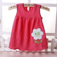 Wholesale Shop Kids Clothing Winter - 2017Summer hot sales girl baby dress Kids Clothing cotton o-neck sleeveless striped Floral Dot A-Line Lace lovely free shipping factory shop