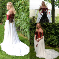 Wholesale Embroidery Taffeta - Medieval Dark Red Taffeta White Chiffon Vintage Wedding Dresses Strapless Long Sleeves Lace Up Back Bridal Gowns Custom Made China EF5194
