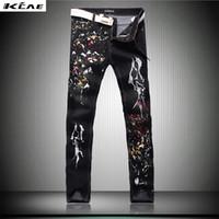 Wholesale Black Denim Print Legging - Wholesale- 2016 new fashion straight leg jeans long men male printed Holes Black denim pants cool cotton designer good quality trousers