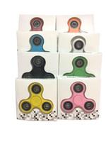 Wholesale black acrylic desk - Stocks finger Spinner Hand Spinner Triangle Tri Fidget Acrylic Plastic Ball Desk Focus Toy EDC For Kids Adults Finger Spinning Top