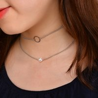 Wholesale Girls Multilayer Necklace - New Simple Circle Multilayer Necklace Punk Imitation Pearl Chain Choker Necklaces Chocker Collar Bijoux Neck Jewelry for Women Girls