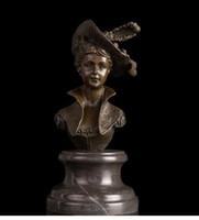 Wholesale Famous Art Drawings - Vintage CRAFTS ARTS Famous Figure Feminine sculpture lady Bust Bronze Figurines Metal Sculptures Wholesale