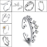 Wholesale Asian Dragonfly - 925 Silver Rings Crown Dolphins Dragonfly Horse Wing Fox Heart Forever Love Adjustable Finger Ring Nail Rings Women Wedding Jewelry 080158