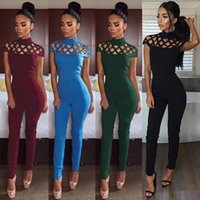 Wholesale Nightclub Jumpsuits For Women - European Jumpsuits for Women Europe Foreign Trade Tight Nightclub New Conjoined Pants Hollow Back Zipper Women's Pure Color Wholesale