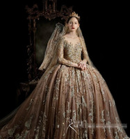 Wholesale Royal house Vintage Long Sleeve Wedding Gowns High Quality Bridal Party Dress Big ball gown Gold Wedding dresses Lace Vestido De Novia