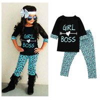 Wholesale wholesale school girl outfits - Little Girls Boutique Letter Print Girls Tees Leopard Birthday Girls Clothing Set Fashion Kids Back to School Toddler Outfit