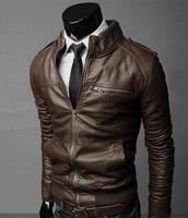 Wholesale Formal Clothes Men - Wholesale- Motorcycle Leather Jackets Men Autumn Winter Leather Clothing Men Leather Jackets Male Business casual Coats