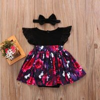 Wholesale Dress Flower Headband - Retail Summer New Baby Girls Dresses Flowers Flare Sleeve Princess Romper Dress+Headband Infant Toddler Clothes 0-2 Years SH011