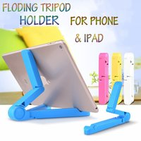Wholesale Triangle Phone Stand - Universal Cell phone Mount Tripod Holder New Style Triangle Desk Folded IPAD Tripod Holders Stand For Samsung S6 s7 iPhone6 6S Plus