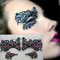 Wholesale black eyelash lace - Fashion Colorful Rhinestone Black Hollow Lace Brow Lace Eyes Mask Eyelashes Stickers For Ballroom Theme Party Free Shipping