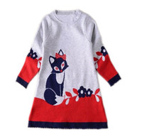 Wholesale Neck Fox - 2017 Spring New Girl Dress Fox Bow Flower Cartoon Cotton Long Sleeve Dress Children Clothing 3-8T PA035