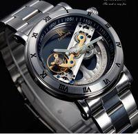 Wholesale New Mechanical Skeleton Pendant Watch - Tourbillon Automatic Wristwatch Mens Luxury Stainless Steel Skeleton Mechanical Brand Watch Fashion Business Suit Pendant Christmas Gift