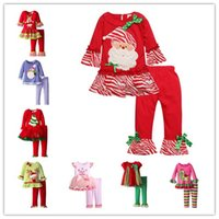 Wholesale Cute Santa Girl Outfit - Christmas Clothing Sets Baby Girls Santa Claus Snowman Animal Long Sleeve Dresses+Pants Lace Tulle Bowknot Tops Outfits