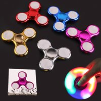 Wholesale kids flashing lights - LED Flash Light Chrome Fidget Spinners with Switch Electroplate Hand Spinner Spinning Top Toys Metallic Color Torqbar Handspinner OTH441