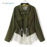 Wholesale Hooded Frock Coat - Wholesale- Colorful Apparel [B-1457] new women casual jacket patchwork lace chiffon drawstring casual frock coat windbreaker