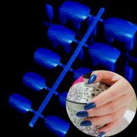 Wholesale Nail Wraps Diamonds - Wholesale- 24pcs (11 size) Beautiful Oval Shape Tip Bling Glitter Diamond Blue Candy Lady Arylic Fake False Nail Tips Full Wrap R26-375X