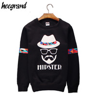 Wholesale Trend Hoodie - Wholesale-Hoodies Men 2016 New Arrival Print Casual Fashion O-Neck Black&White Hip Hop Trend Youth Catoon Men Hoodie MWW770