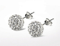 Wholesale Disco Steel - 2017 hot sales 925 Silver 6mm  8mm 10mm Shamballa Crystal disco Ball Stud Earrings Swarovski 20pairs lot 7