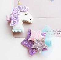 sevimli kız saç aksesuarları toptan satış-Moda Sevimli Kız Glitter Unicorn Yıldız Tokalarım Hissettim Bebek Kız Tokalar Katı Kawaii Hayvan Fox Saç Klipler Saç Aksesu ...