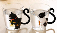 New Cute Creative Cat Kitty Caneca de vidro Tea Cup Milk Coffee Cup Música / Dots / English Words Home Office Cup