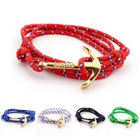 Wholesale Gold Anchor Wrap Bracelet - Fashion Anchor bracelets Infinity bracelet Wrap Rope Charm Fish Hook With Paracord For Men And Women Miansai Style fashion jewelry wholesale