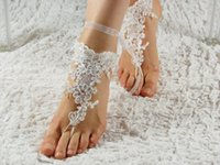 Wholesale Cheap Custom Sandals - Lace Beads Beach Wedding Barefoot Sandals 2017 Hot Sale Anklet Chain Cheap Custom Made Elegant Bridal Bridesmaid Jewelry Foot