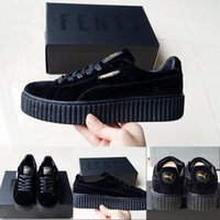 Wholesale Leather Fashion Boots Lace - 2017 Wholesale Puma by Fenty Rihanna Suede Creepers Velvet Running Shoes Men Women Black Grey Fashion Athletics Sneakers Sport Skater Boot
