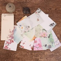 Wholesale Material Craft Pieces - Wholesale-5 Pieces  Lot Chinese Style Vintage Flower Craft Paper Envelope For Letter Paper Postcards School Material Free Shipping 822