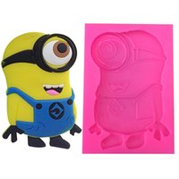 Wholesale Small People Model - Yefu cake fondant silicone mold New famoso figura small yellow people chocolate fudge decorated kitchen baking cookies 5pcs Free china post
