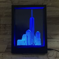 3D Building LED Photo Frame IR Remote 7 RGB Lights AAA Battery ou DC 5V Factory Wholesale Dropship Frete grátis