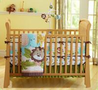 Wholesale Lion Quilt Cover Set - Baby Bedding Set 3D Embroidery African Forest Lion Elephant Giraffe Pattern Quilt Bumper Bedskirt Mattress Cover 7 Pieces Set