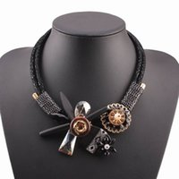 Wholesale Crystal Flower Necklace Handmade - Wholesale- 2017 new handmade christmas jewelry winter chunky wood statement bib black rope chain crystal flower pendant necklace for women