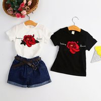 Wholesale Blouse Roses - 2017 Summer new Embroidered roses Girl t-shirt children round neck blouse quality cotton kids fashion Black&white rose clothes