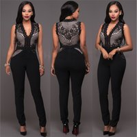 ee4215aad816 Sexy Lace Bodycon Jumpsuit for Women V Neck Sleeveless Hollow Out Rear  Zipper Solid Black Green Clubwear Party Jumpsuits Outfits OS051