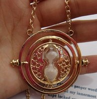Wholesale Hourglass Necklaces - Wholesale-Gold Hourglass Time Turner Necklace Hermione Granger Rotating Spins